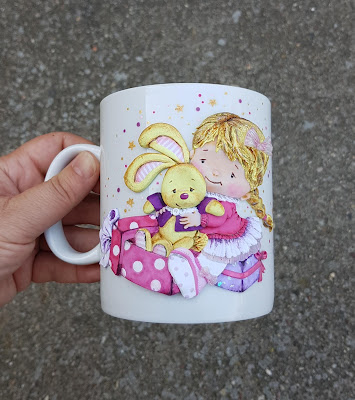 bunny, królik, dziewczynka, girl, sweet, cute, gift, kubek, mug, cup,