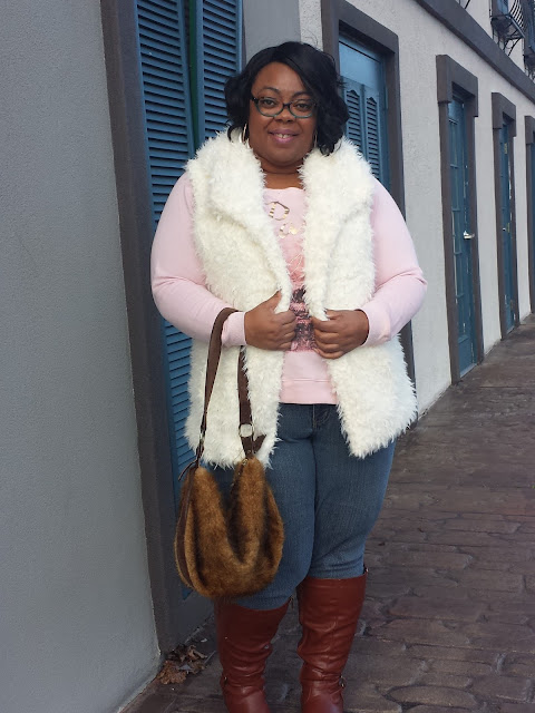 faux fur vest; wide width and wide calf boots; faux fur purse