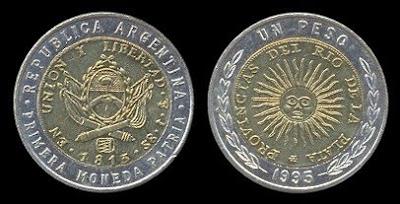 Argentina (un) 1 Peso (1995) small legend, round 9s coins