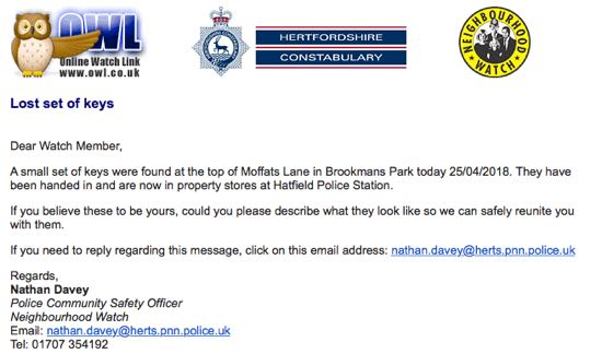 screen grab of police neighbourhood watch message