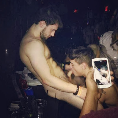 gay public sex, guy sucks naked guy's cock at a party in front of lots of people and is filmed, exhib, cocksucking, dick, Robot Jack