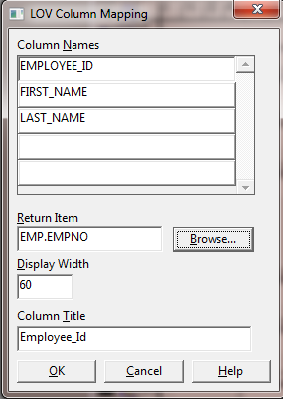 How to Create LOV in Oracle Forms Using Wizard ? -Lov Column mapping