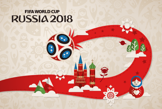Fondo con Símbolos rusos típicos de Rusia 2018