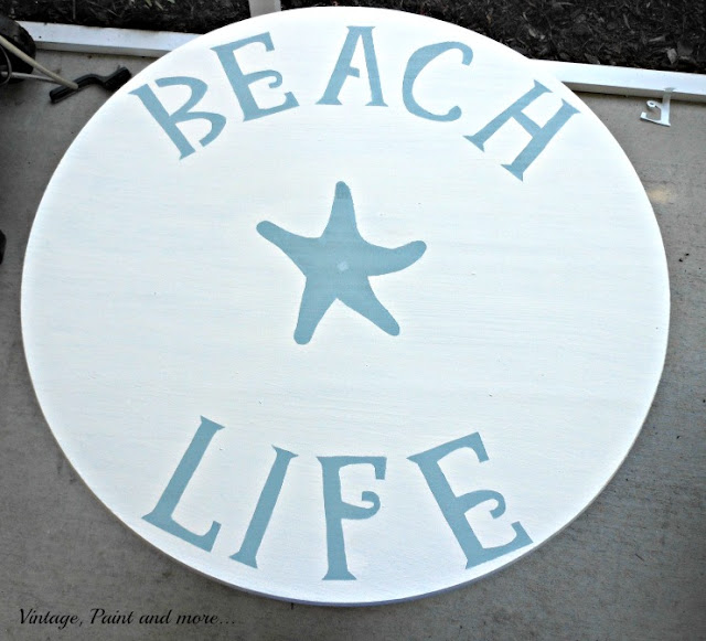 Vintage, Paint and more... DIY patio table painted with a stencil