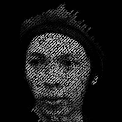 hasil membuat tipografi wajah di photoshop