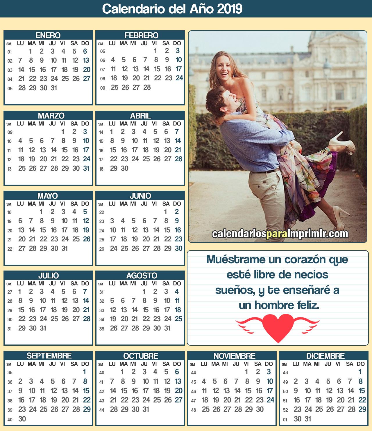 calendarios para imprimir con frases felices