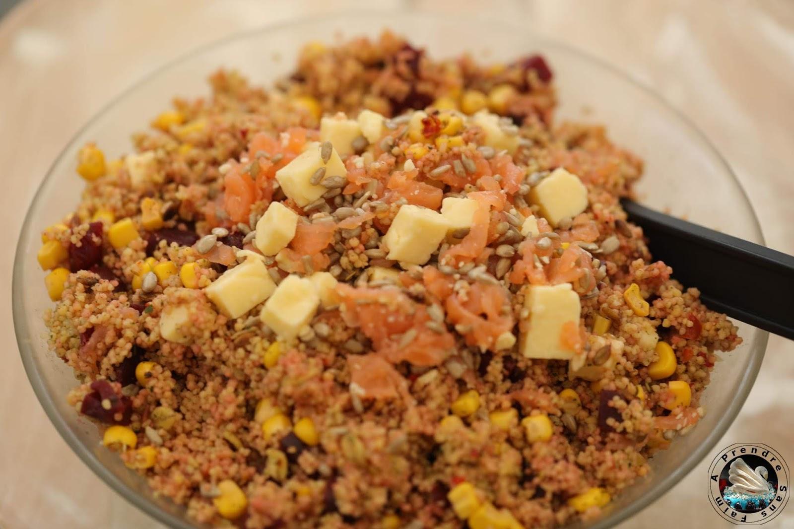 Salade saumon fumé céréales aux graines