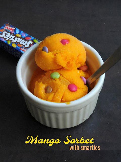 Mango sorbet with smarties