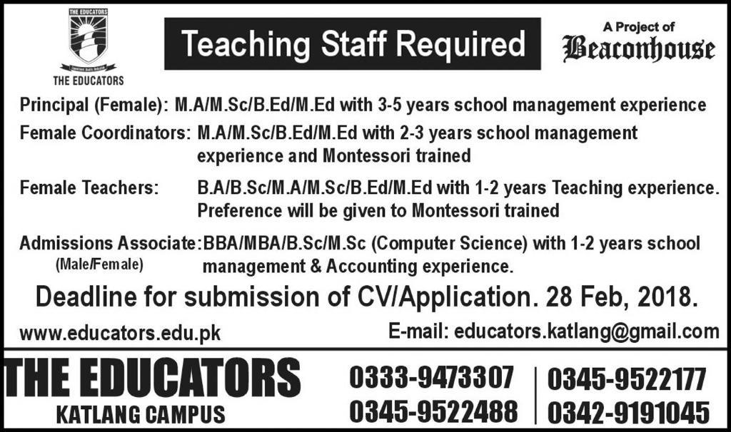 Vacancies for Teachers in The Educators Feb 2018
