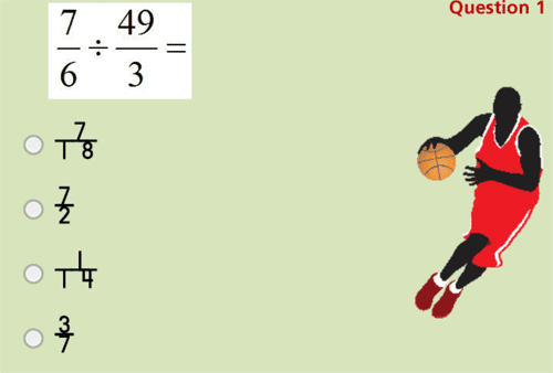 Dividing fractions basketball game