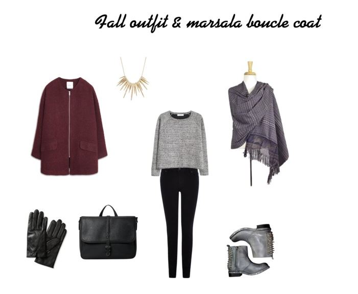 Fall outfit with marsala boucle coat
