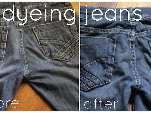 updating faded jeans with dye {before and after}