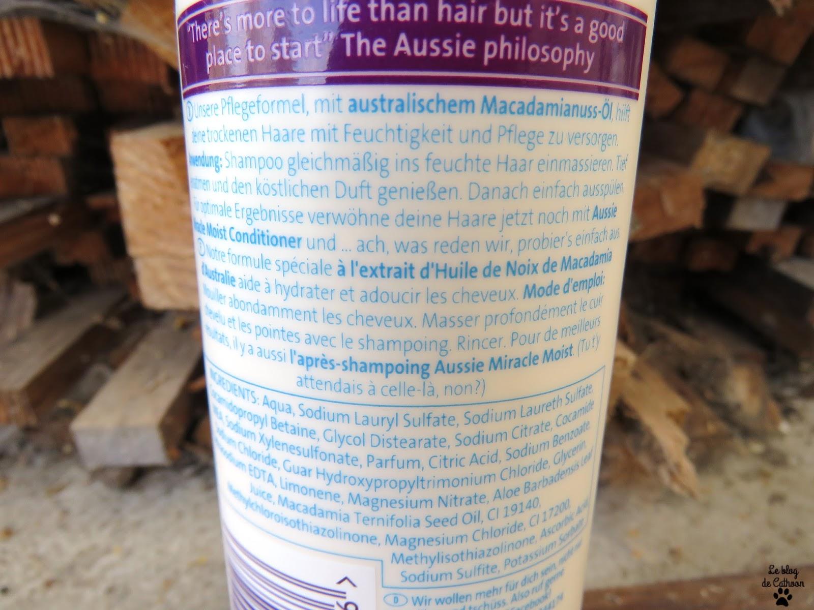 Miracle Moist Shampoo - Pour Cheveux Secs, abîmés et malheureux - Aussie