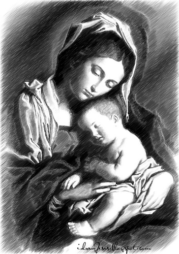 Mm01 mother mary pencil sketch art