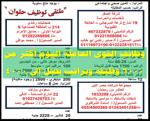 وظائف القوى العاملة اليوم , وظائف القوى العاملة 2018 , وظائف القوى العاملة المصرية , وظائف القوي العاملة الجديدة , وظائف القوي العاملة بمرتب عالي