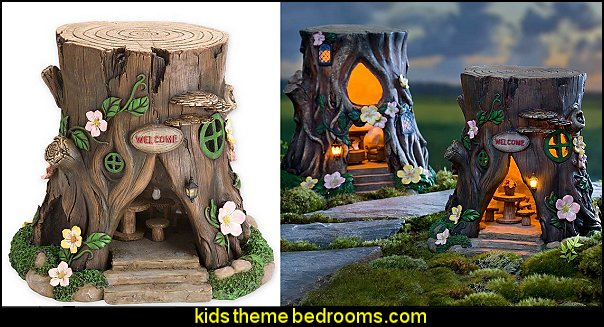 Miniature Fairy Garden Solar Teardrop Window House Stump