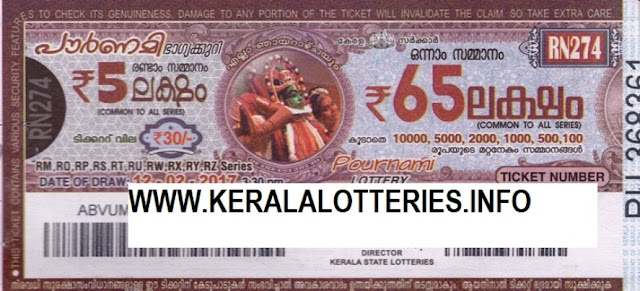 Official Kerala lottery result of Pournami_RN-101