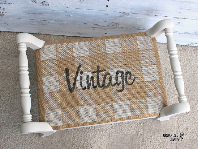 Boutique Style Upcycle of a Vintage Footstool organizedclutter.net