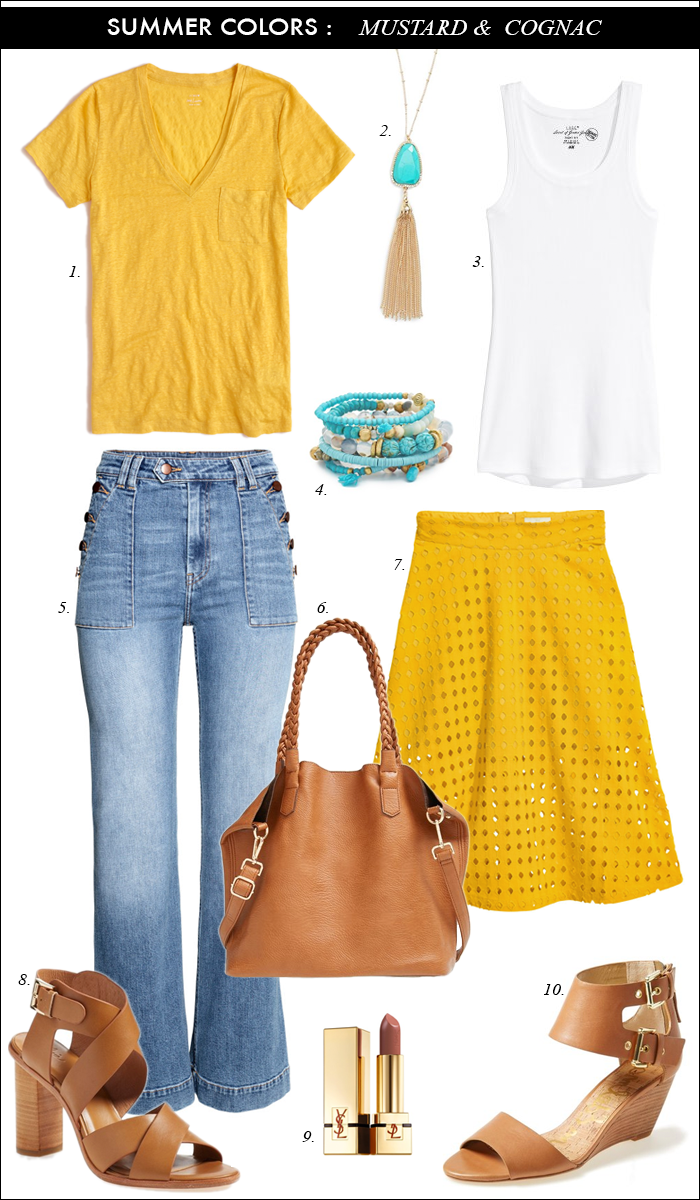 mustard and turquiose_sequins and things_perforated mustard skirt_cognac summer sandals