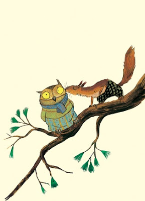 owl and squirrel illustration
