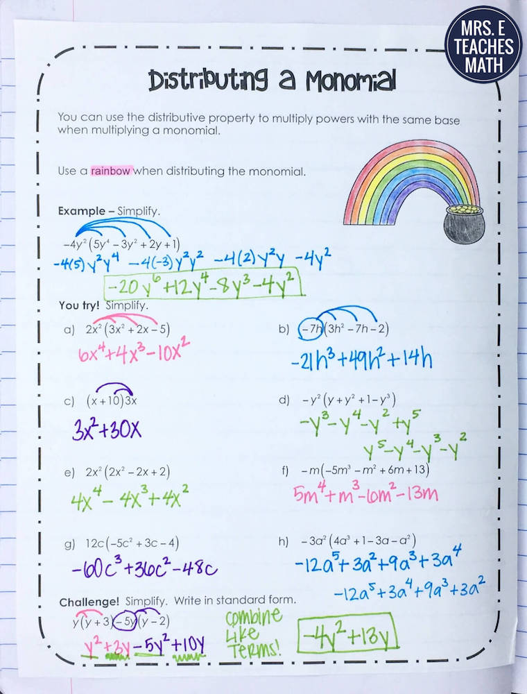 Intro To Polynomials Inb Pages Mrs E Teaches Math