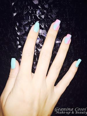 Manicura degradado Azul/Rosa