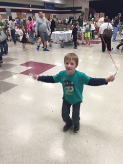 Young boy jump roping