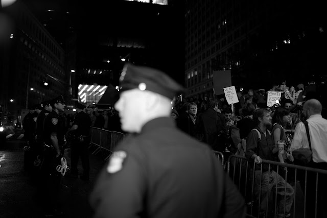 eviction day, occupy wall street, wall street, financial district, owe, money, stock exchange, 2.0, bloomberg, black and white, b&w, nypd