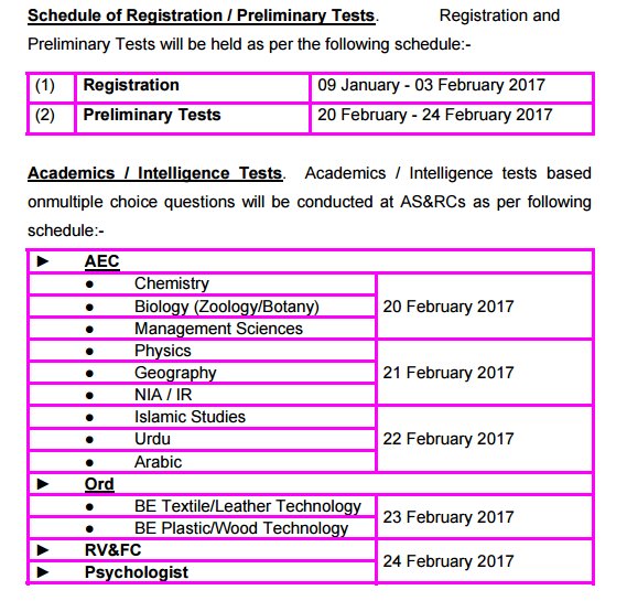 Join Pak Army DSSC 2017