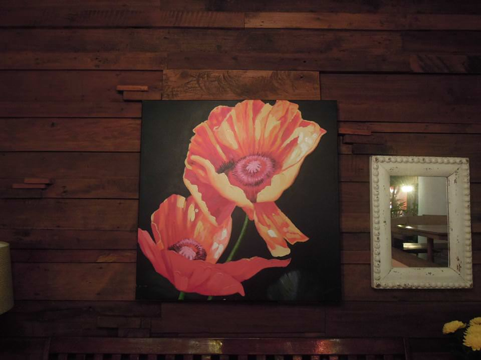 A painting on the wall of Bag of Beans Tagaytay