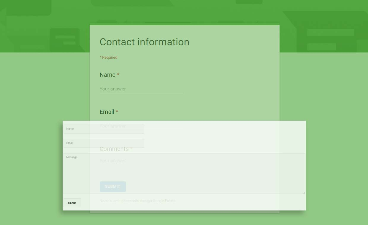 Modifikasi Google Forms Contact Information Untuk Contact Form Blog