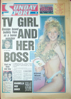 Front page of the Sunday Sport from 14th December 1986