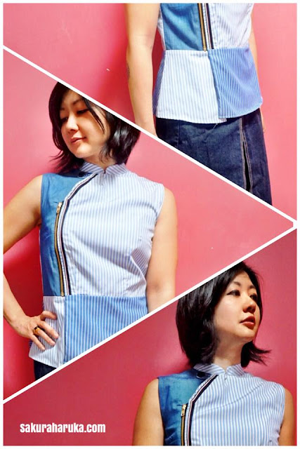 a9686987503 SASSY Stripes with Zip is another interesting chambray top mixed with other  lightweight cotton fabric. A biker-inspired cheongsam top
