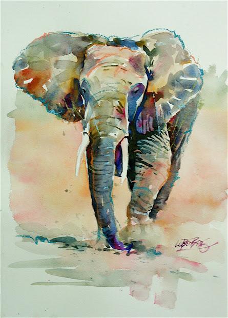 Watercolor Painting Elephant Art