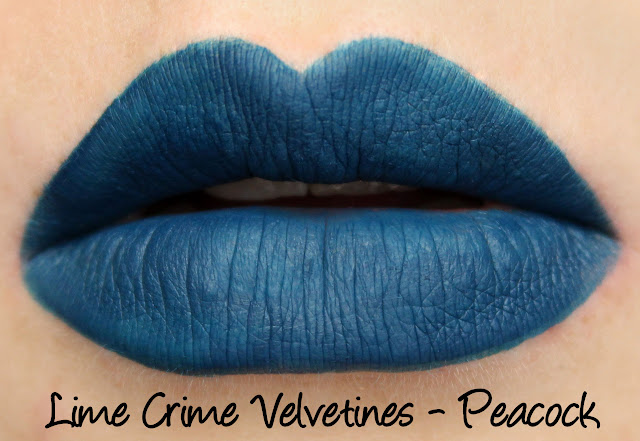 Lime Crime Holiday Velvetines Trio - Peacock Swatches & Review
