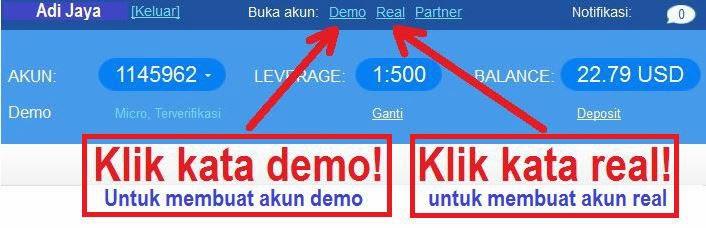 Cara menggunakan akun demo