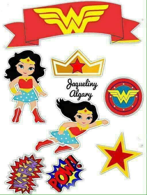 photograph about Wonder Woman Printable called Surprise Lady: Free of charge Printable Cake Toppers. - Oh My Fiesta