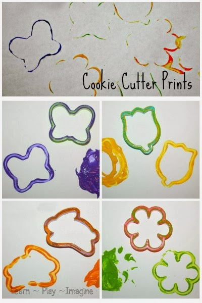 Print making with cookie cutters, spring art for kids