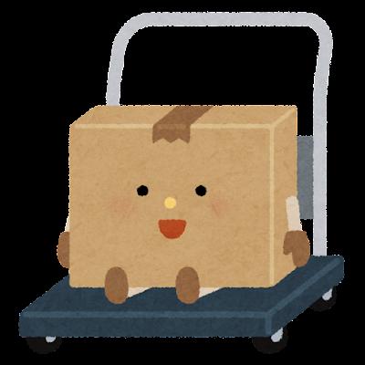 運ばれるダンボール箱のキャラクター