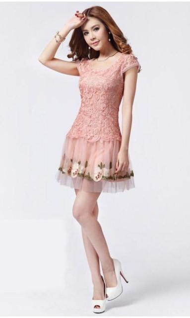 10 Model Baju Dress Brokat Pendek 2017 Gambar Pink Terbaru