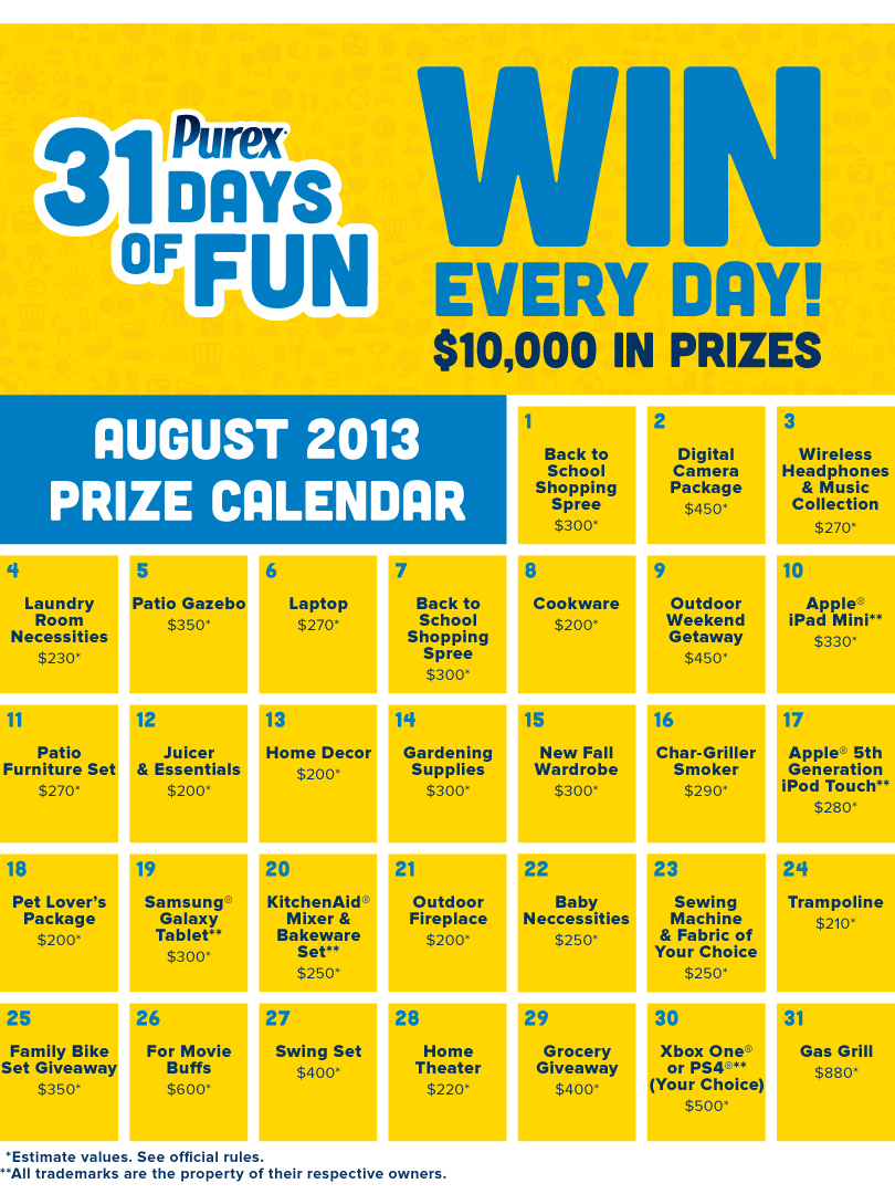 calendar sweepstakes my blogging hiccups purex 31 days of fun sweepstakes 2133