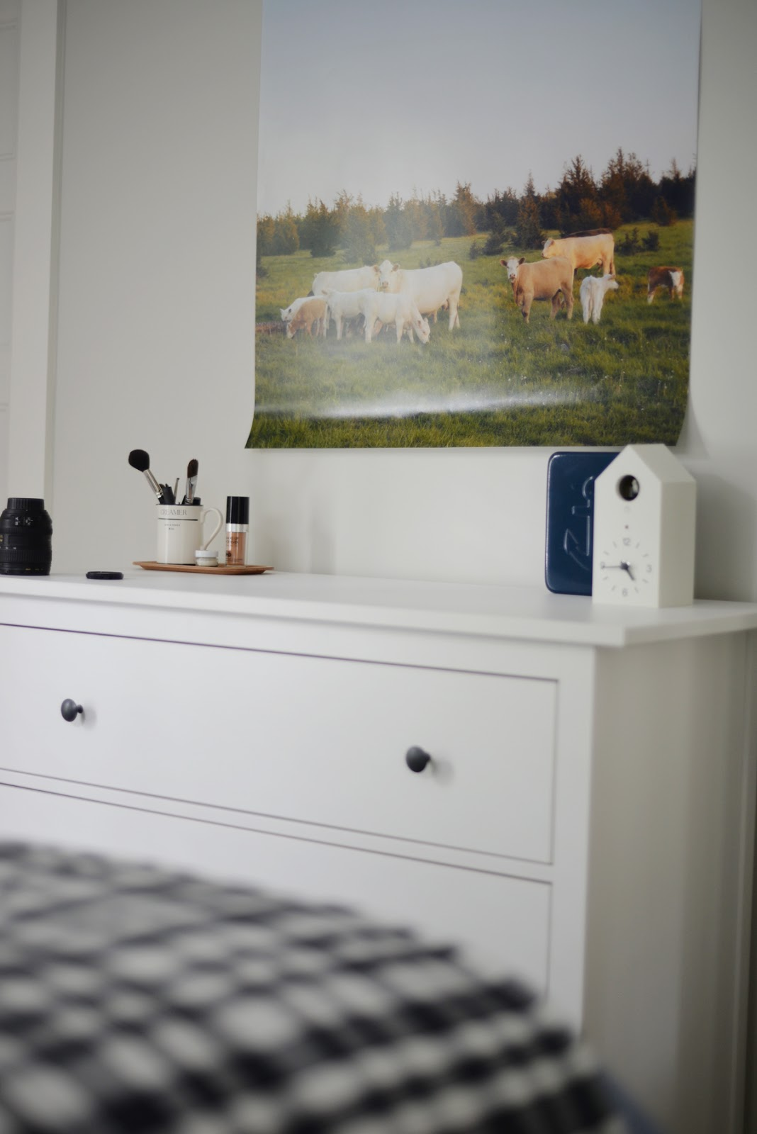 large scale cow photo, muji cuckoo clock, ikea hemnes 3 drawer dresser | Ramblingrenovators.ca