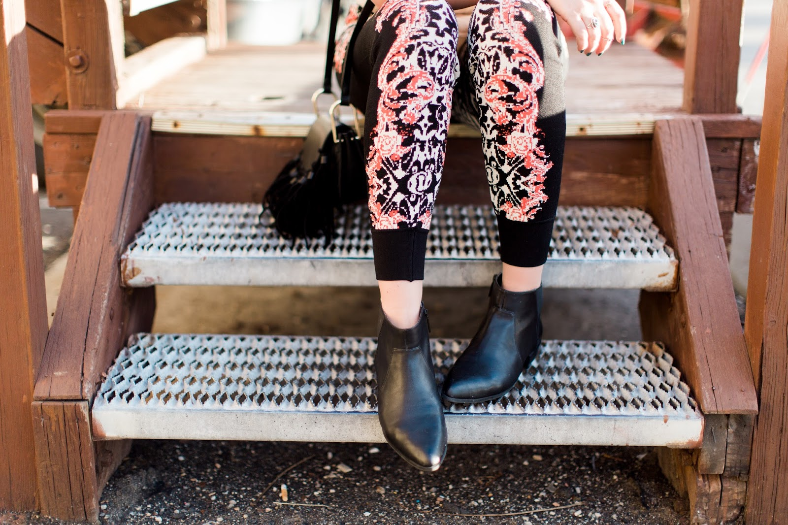 Black Booties, Casual Outfit, Printed Joggers