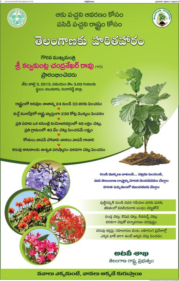 Essay, Speech on Haritha Haram Plantation Initiative Telangana