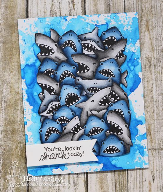 Crowd of Sharks card by Holly Endress | Shark Frenzy Stamp Set by Newton's Nook Designs #newtonsnook #handmade