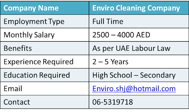 Cleaning Company Jobs, Supervisor Jobs, Cleaning Supervisor Jobs, Confirm UAE Jobs