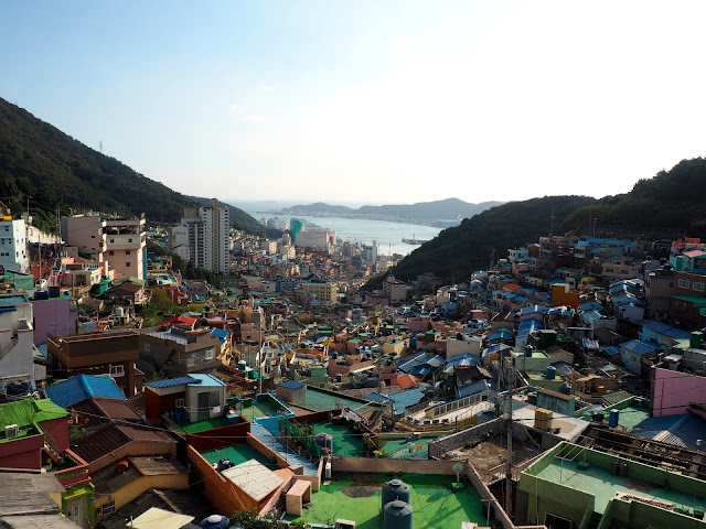 View from a rooftop cafe over Gamcheon Village, Busan, South Korea