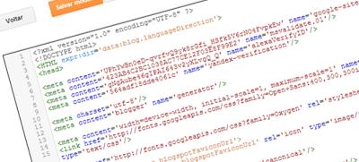 Editor de HTML do Blogger