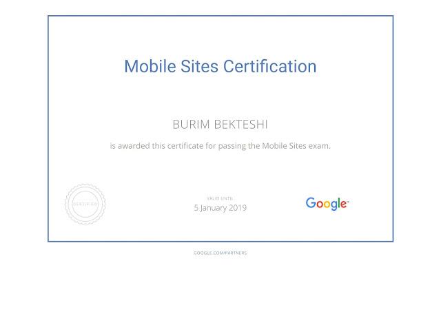 Google Mobile Sites Certification - Burim Bekteshi