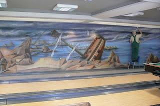 Artystyczne malowanie ściany, mural ścienny 3D w kręgielni, warszawa, malarstwo ścienne